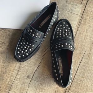 Musse & Cloud Black Studded Loafers